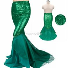 Sexy Mermaid Ladies Womens Costume Fancy Party Sequins Maxi Dress Tail Skirt