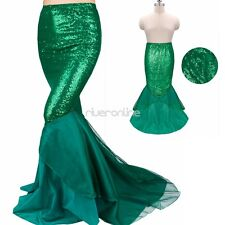 Halloween Sexy Mermaid Womens Costume Fancy Party Sequins Maxi Dress Tail Skirt