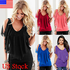 Womens Ruffle Cold Shoulder Short Sleeve Chiffon Top Casual Party Blouse T Shirt