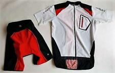 Mens Cycling Bike short Sleeve Jersey Knicks pant Kit Set White Red Top Quality