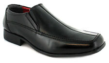 New Mens/Gents Black Leather Slip On Formal Shoes Wider Fitting. UK SIZES