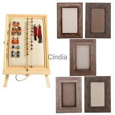 Rustic Handmade Wood Linen Picture Frame Jewelry Display Stand Organizer Holder