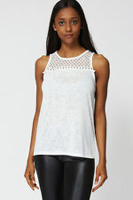 Ladies Cream Sheer Lace Detail Vest Top - Jumper Sweater Blouse - NEW
