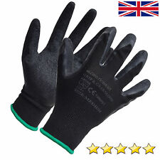 24 Pairs BLACK HQ Latex Coated Safety Work Garden Gloves Grip Builders Gardening