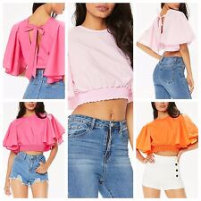 Womens Short Frill Sleeves Tie Back Detail Elasticated Waist band Crop Top 8-14