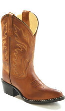 Old West Tan Canyon Childrens Boys Leather J Toe Cowboy Western Boots