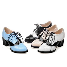 Womens New Mid Cuban Heel Lace up Wing Tip Patent Chic Brogue Punk Pumps Shoes