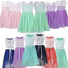 Girls Summer Chiffon Lace Tulle Flower Dress For Wedding Bridesmaid Formal Party