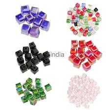50pcs 6mm Square Cube Cut Glass Crystal Spacer Beads for DIY Jewelry Making