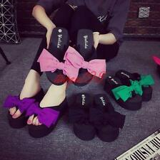 Womens Casual Mules Platform wedge Bowknot Thong Sandals Flip Flops Pumps Shoes