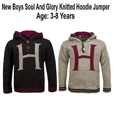 New Boys Soul and Glory Knitted Hooded Jumper Top Age 3-8 Years