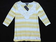 NWT Tommy Hilfiger Women's 3/4 Sleeve Striped Knit Top Size: S, M