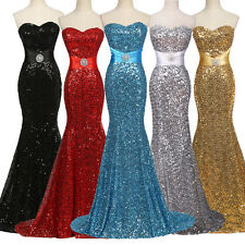 Sexy Strapless Sequins Mermaid Full Length Evening Dress Party Wedding Prom Gown