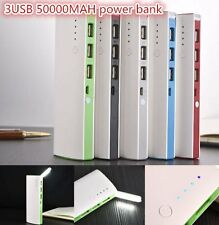 50000mAh 3 USB Backup External Battery Power Bank Pack Charger for Cell Phone CO