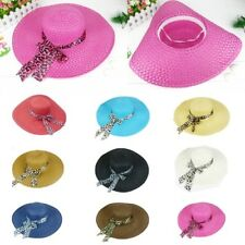 Women Girls Wide Brim Summer Hollow Beach Hat Bowknot Sun Straw Floppy Beauty Ca