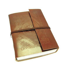 Fair Trade Handmade Embossed Leather Journal Diary, Eco Friendly Recycled Paper