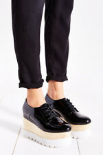 Jeffrey Campbell Berliner Platform Oxfords Black Box Leather White Double Wedge