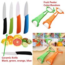 """3"""" Ceramic Knife Colorful Handle With White Blade Kitchen Knives Fruit Peeler CI"""