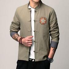 Men's Tang suit Coat Stand Collar Chinese Style Jacket Retro Spring Cotton Linen