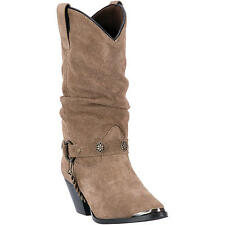 Dingo Womens Tan Olivia 10in Harness Leather Cowboy Boots Concho