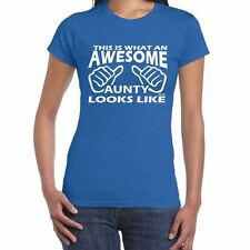Awesome Aunty Womens Funny printed TShirts tops novelty joke birthday gift