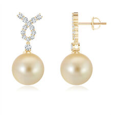Solitaire Golden South Sea Cultured Pearl Earrings with Diamond 14K Yellow Gold