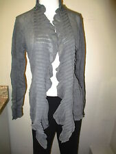Eileen Fisher Flutter Front Cardigan in Rayon Linen Jersey 2X Smoke  NWT