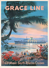 Grace Line Caribbean Vintage Poster  Print on Paper or Canvas