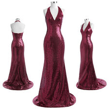 Women's Stunning Sequined Long  Halter V-Neck Ball Gown Evening Prom Party Dress