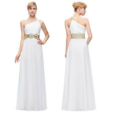 One Shoulder Formal Cocktail Party Evening Long Bridesmaid Prom Dress Ball Gown