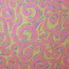 Quilt Fabric Quilting Cotton Calico Bright Green w/ Pink Swirls: FQ 17x20