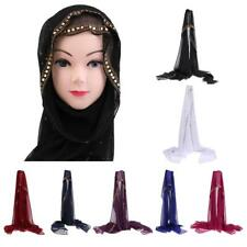 Chiffon Hijab Scarf Shawl Wrap Muslim Headcover décor with Golden Beads