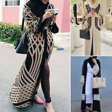 Muslim Islamic Arab Kaftan Women Casual Long Sleeve Coat Cocktail Maxi Dress New