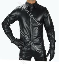 MENS REAL COW LEATHER BLACK POLICE STYLE SHIRT BLUF GAY FULL SLEEVES