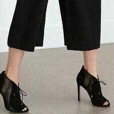 ZARA Woman BNWT Black Leather Lace-Up  High Heel Ankle Boots Shoes 6 7 1205/101