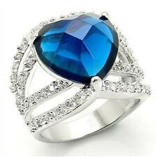 Silver Simulated Sapphire Heart Ring Rhodium Plated Blue Cubic Zirconia Size 9