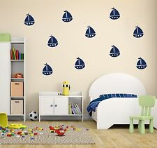 Sailboats Wall Decal Nautical Sailboat Art Nursery Set Wall Decor Art Vinyl Stic