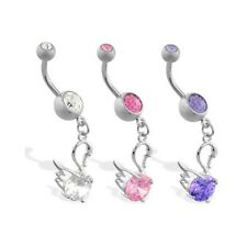 Jeweled navel ring with dangling swan and gem