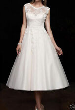 New White/Ivory Tea Length Short Lace Vintage Wedding Dress Bridal Gowns