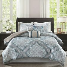 7pc soft gray and aqua blue geometric paisley pattern comforter set