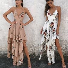 Women Long Summer Beach Dress Sleeveless Boho Floral Maxi Evening Party Sundress