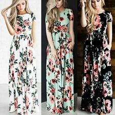 Womens Floral Long Maxi Dress Boho Evening Cocktail Party Summer Beach Sundress