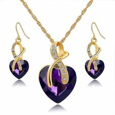 Women New Fashion Classic Crystal Gold Plated Necklace Earrings Jewelry Set
