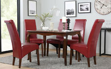 Clarendon & Boston Dark Wood Dining Table and 4 6 Chairs Set (Red)