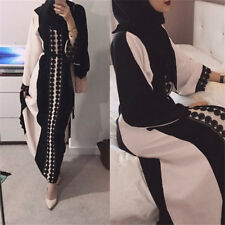 Women Dubia Style Open Front Trim Linen Abaya Jilbab Muslim Islamic Maxi Dress