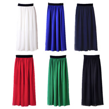 Retro Long Dress Pleated Double Layer Chiffon 1 pcs Women Elastic Waist Skirt