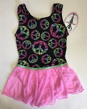 Jacques Moret Girl Dance Tank Skirtall Black Rainbow Peace Size Medium 8/10 New