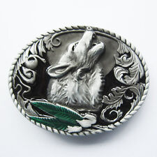 Men Belt Buckle Western Wolf Oval Belt Buckle Gurtelschnalle Boucle de ceinture