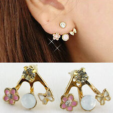 Fashion Korean Lovely Style Rhinestone Butterfly Flower Mounted Stud Earring Sol