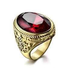 Fashion Gold Plated Red/green/blue Color Stainless Steel Ring For Men